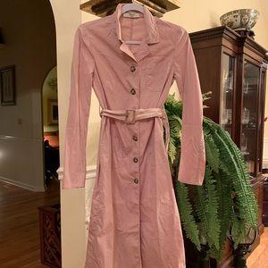 Prada pink long sleeve button up dress